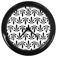 Floral Black White Wall Clocks (Black)