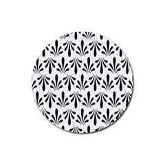 Floral Black White Rubber Round Coaster (4 Pack)