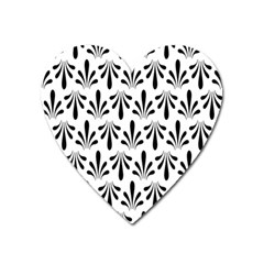 Floral Black White Heart Magnet