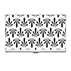 Floral Black White Business Card Holders
