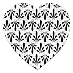Floral Black White Jigsaw Puzzle (heart)