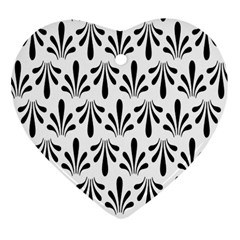 Floral Black White Heart Ornament (Two Sides)