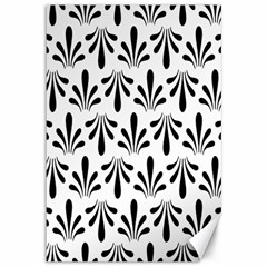 Floral Black White Canvas 12  x 18
