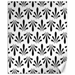 Floral Black White Canvas 16  X 20