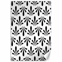 Floral Black White Canvas 24  x 36