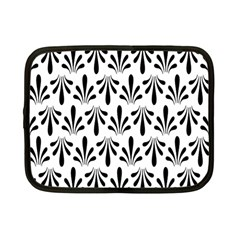 Floral Black White Netbook Case (Small)