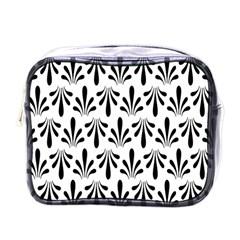Floral Black White Mini Toiletries Bags