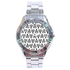 Floral Black White Stainless Steel Analogue Watch
