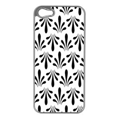 Floral Black White Apple iPhone 5 Case (Silver)