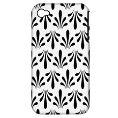 Floral Black White Apple iPhone 4/4S Hardshell Case (PC+Silicone)