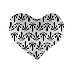 Floral Black White Standard 16  Premium Heart Shape Cushions