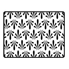 Floral Black White Double Sided Fleece Blanket (Small)
