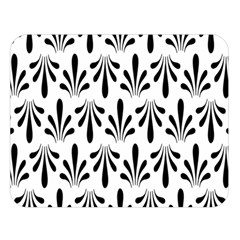 Floral Black White Double Sided Flano Blanket (Large)