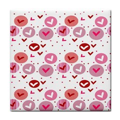 Crafts Chevron Cricle Pink Love Heart Valentine Tile Coasters
