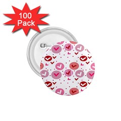 Crafts Chevron Cricle Pink Love Heart Valentine 1.75  Buttons (100 pack)