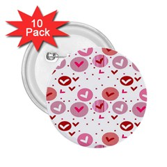 Crafts Chevron Cricle Pink Love Heart Valentine 2.25  Buttons (10 pack)