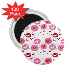 Crafts Chevron Cricle Pink Love Heart Valentine 2.25  Magnets (100 pack)