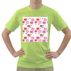 Crafts Chevron Cricle Pink Love Heart Valentine Green T Shirt