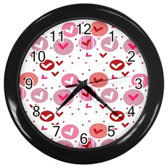 Crafts Chevron Cricle Pink Love Heart Valentine Wall Clocks (black)