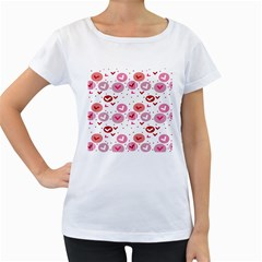 Crafts Chevron Cricle Pink Love Heart Valentine Women s Loose Fit T Shirt (white)
