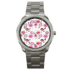 Crafts Chevron Cricle Pink Love Heart Valentine Sport Metal Watch