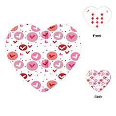 Crafts Chevron Cricle Pink Love Heart Valentine Playing Cards (Heart)