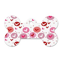 Crafts Chevron Cricle Pink Love Heart Valentine Dog Tag Bone (Two Sides)