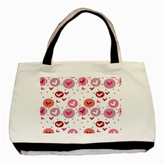 Crafts Chevron Cricle Pink Love Heart Valentine Basic Tote Bag (Two Sides)