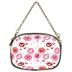 Crafts Chevron Cricle Pink Love Heart Valentine Chain Purses (One Side)