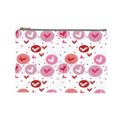 Crafts Chevron Cricle Pink Love Heart Valentine Cosmetic Bag (Large)