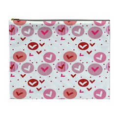 Crafts Chevron Cricle Pink Love Heart Valentine Cosmetic Bag (XL)