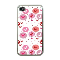 Crafts Chevron Cricle Pink Love Heart Valentine Apple iPhone 4 Case (Clear)
