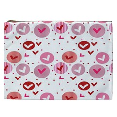 Crafts Chevron Cricle Pink Love Heart Valentine Cosmetic Bag (XXL)