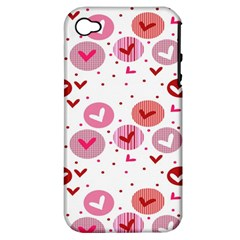 Crafts Chevron Cricle Pink Love Heart Valentine Apple iPhone 4/4S Hardshell Case (PC+Silicone)