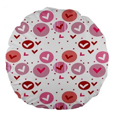 Crafts Chevron Cricle Pink Love Heart Valentine Large 18  Premium Round Cushions