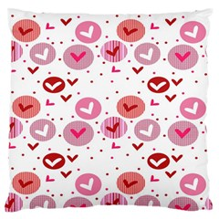 Crafts Chevron Cricle Pink Love Heart Valentine Large Flano Cushion Case (One Side)