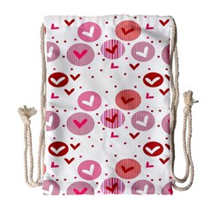 Crafts Chevron Cricle Pink Love Heart Valentine Drawstring Bag (Large)