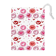 Crafts Chevron Cricle Pink Love Heart Valentine Drawstring Pouches (Extra Large)