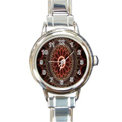 Circles Shapes Psychedelic Symmetry Round Italian Charm Watch
