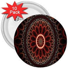 Circles Shapes Psychedelic Symmetry 3  Buttons (10 Pack)