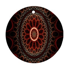 Circles Shapes Psychedelic Symmetry Round Ornament (Two Sides)