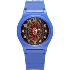 Circles Shapes Psychedelic Symmetry Round Plastic Sport Watch (S)