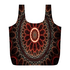 Circles Shapes Psychedelic Symmetry Full Print Recycle Bags (L)