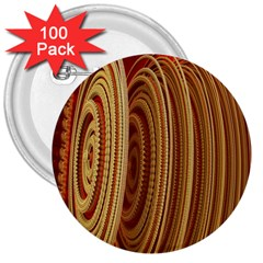 Circles Figure Light Gold 3  Buttons (100 Pack)