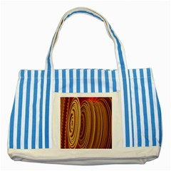 Circles Figure Light Gold Striped Blue Tote Bag
