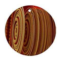 Circles Figure Light Gold Round Ornament (Two Sides)
