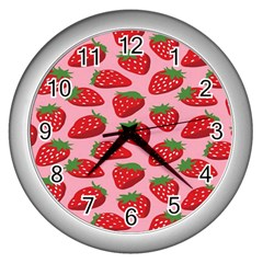 Fruitb Red Strawberries Wall Clocks (Silver)