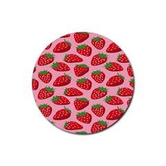 Fruitb Red Strawberries Rubber Coaster (round)