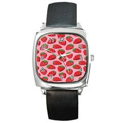 Fruitb Red Strawberries Square Metal Watch