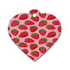 Fruitb Red Strawberries Dog Tag Heart (Two Sides)